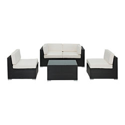 East End Imports - Camfora 5 Piece Sectional Set in Espresso White - Simple and serviceable, the Camfora is a great choice for any backyard. Classically styled furniture crafted out of all weather materials meant to last, this set will please year after year. Enjoy some quality time in the fresh air with the Camfora set.