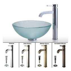 Kraus - Kraus Frosted 14 inch Glass Vessel Sink and Ramus Faucet Chrome - *Add a touch of elegance to your bathroom with a glass sink combo from Kraus