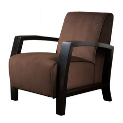 Great Deal Furniture - Emerson Modern Design Microfiber Club Chair - Finally, a club chair with a modern flair!  The traditional silky-smooth, brown microfiber upholstery combined with exposed wooden arms and legs are a perfect combination. Add in the high seat back and you've got one comfortable, good-looking chair.