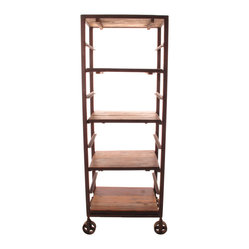 "Kathy Kuo Home - Buttermere Reclaimed Wood Tall Baker's Rack Display Bookcase - Store anything from pumpernickel to ""War and Peace."" Talk about versatility, this tall baker's rack will give your space some serious storage or smart industrial-style display. Made from reclaimed wood, the four chestnut-finished shelves can be spaced to allow extra room for tall items such as candlesticks, books or large photographs."