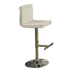 Monarch Specialties - Monarch Specialties 2355 Hydraulic Lift Barstool in White and Chrome (Set of 2) - Choose this contemporary two piece bar stool set for a stylish look perfect for get-togethers and sleek dining. The chrome finished metal pedestal base features a hydraulic lift to adjust the seat height and a footrest for added comfort. The cream seat with a padded straight line design makes this barstool comfortable and visually appealing.