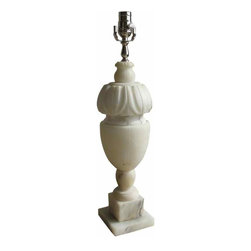Alabaster Lamp - vintage italian repurposed alabaster lamp