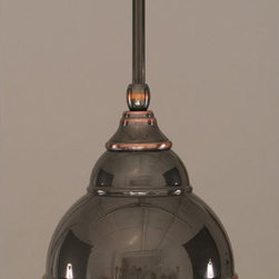 Toltec Lighting - Black Copper Stem Mini Pendant with Double Bubble Metal Shade - - 6-Inch Black Copper Double Bubble Metal Shade  - Bulbs not included  - Comes with 1-6-Inch, 2-12-Inch, and 1-18-Inch stem sections  - Comes with a hang straight swivel Toltec Lighting - 23-BC-427