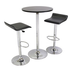 Winsome - Spectrum 3pc Pub Table Set - This 24 in. Pub Table is great addition to your game or dorm room. Modern Pub Set, compact size. Round MDF Top Table matches with same metal leg airlift Stools