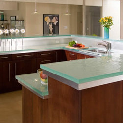 "Glass Counter Top - 1 1/2"" thick glass counter top for kitchen.  Starphire glass over textured."