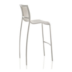 Magis Paso Doble Outdoor Stool - Paso Doble Outdoor Stool design by Stefano Giovannoni is a modern stool in die-cast polyester powder painted aluminum in black or white. The seat and backrest constructed of polyester-vinyl polymer.