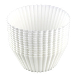 California Kitchenware - California Kitchenware Butterfield Silicone Cupcake Molds, White, Set of 12 - California Kitchenware Butterfield Silicone Cupcake Molds are packaged in a tube of 12 cups, making a great gift for friends or family. Twelve white CKW signature cups are made to be used in the oven up to 500 degrees F, but can also be used in the freezer or microwave. The food-grade, non-stick silicone is fun for kids but uncompromising in performance.