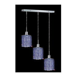 Elegant Lighting - Mini Sapphire Crystal Pendant w 3 Lights in Chrome (Royal Cut) - Choose Crystal: Royal Cut. 3 ft. Chain/Wire Included. Bulbs not included. Crystal Color: Sapphire (Blue). Chrome finish. Number of Bulbs: 3. Bulb Type: GU10. Bulb Wattage: 55. Max Wattage: 165. Voltage: 110V-125V. Assembly required. Meets UL & ULC Standards: Yes. 14.5 in. D x 8 to 48 in. H (8lbs.)Description of Crystal trim:Royal Cut, a combination of high quality lead free machine cut and machine polished crystals & full-lead machined-cut crystals..SPECTRA Swarovski, this breed of crystal offers maximum optical quality and radiance. Machined cut and polished, a Swarovski technician¢s strict production demands are applied to this lead free, high quality crystal.Strass Swarovski is an exercise in technical perfection, Swarovski ELEMENTS crystal meets all standards of perfection. It is original, flawless and brilliant, possessing lead oxide in excess of 39%. Made in Austria, each facet is perfectly cut and polished by machine to maintain optical purity and consistency. An invisible coating is applied at the end of the process to make the crystal easier to clean. While available in clear it can be specially ordered in a variety of colors.Not all trims are available on all models.
