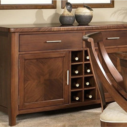 Somerton Dwelling - Somerton Dwelling Gatsby Dining Server Multicolor - 422-73 - Shop for Buffets and Side Boards from Hayneedle.com! With the Gatsby Dining Server you can treat your guests to an elegant night of entertainment. This server has ample storage with its pairs of cabinets and drawers while its wine rack can hold up to eight bottles. It is made durable from select hardwoods in a lovely traditional style. The fine walnut veneers are finished in a glowing medium brown.About Somerton Dwelling For over 20 years Somerton Dwelling has meant quality furniture and a quality company. Its warehouses and distribution centers located both in the United States and China provide environmentally friendly manufacturing locations as well as mindful employment spaces. Quality materials such as eco-friendly rubberwood solid wood and wood veneers are used to create Somerton Dwelling pieces ... and any Somerton Dwelling furnishing you choose will make a welcome stylish addition to your home.