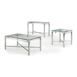 Steve Silver - Steve Silver Nova 3 Piece Occasional Table Set - Bring perfection and brilliance to your home with the Nova Occasional Set. A glass top and chrome x pattern base will make this collection your rooms centerpiece for years to come. What's included: Cocktail Table (1), End Table (1), Sofa Table (1).