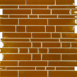 "Glass Tile Oasis - Burnt Orange Random Bricks Orange Cane Solids Glossy Glass - Sheet size:  11 3/4"" x 12 3/4""        Tiles per sheet:  56        Tile thickness:  1/4""        Grout Joints:  1/8""        Sheet Mount:  Mesh Backed or Paper Face     Sold by the sheet    -  These tiles feature fifteen beautiful jewel tone colors finished in either gloss non-iridescent finish or a frosted   matte finish. Random tile sizes are stacked in a repeating pattern for ease of installation. Each sheet comes mesh mounted for ease of installation."