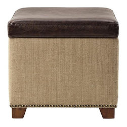 Home Decorators Collection - Ethan Storage Ottoman - Add extra storage and seating with our Ethan Storage Ottoman. Featuring bonded leather and burlap upholstery, this stylish cube flips open to reveal ample space for books, linens and more. Flip-open lid upholstered in bonded leather. Base upholstered in burlap. Feet finished in antique cherry.