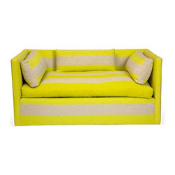 Yellow & Grey Settee - Upholstered in Rigato Stripe in Alchemilla, by Designers Guild, this little sofa is all luxury. Seat height 18''