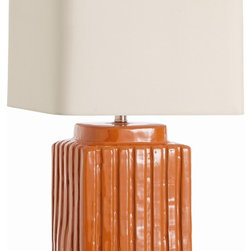 Arteriors - Artesia Lamp - From its earthy base to crisp shade, this lamp proves it's hip to be square. The hand-crafted terra-cotta features a detail of groovy bands glazed in burnt orange sure to add a bright pop of color to any room.