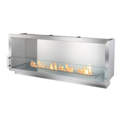 "Ignis - 64.25"" Single-Sided Ethanol Firebox Fireplace Wall Insert - This ethanol firebox, designed to be constructed into the wall or a custom case good offers contemporary aesthetics and functional ambiance and heat to any space. The FB4800S One-Sided Ethanol Firebox by Ignis uses patent-pending technology making it one of the safest built-in/recessed ethanol fireplaces available. Over and above its safety measures, this fire box burns wholly-renewable ethanol fireplace fuel that only emits heat, water vapor and carbon dioxide into the air. Therefore, it is a ventless firebox without the hassles of gas or wood-burning hearths."