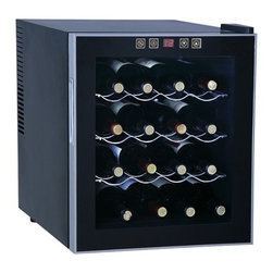 Sunpentown - Thermo-Electric Wine Cooler, 16-Bottle - 16 standard bottles capacity with 3 removable shelves. Tinted double-pane glass door, recessed handle with black cabinet and platinum trim reflects a sleek and contemporary look. Touch sensitive control panel with LED temperature display on door. ThermoElectric Technology (no compressor) offers a quiet operation with no vibration. Adjustable temperature between 52 to 65F.