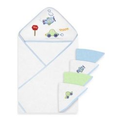 Spasilk - Spasilk Airplane and Car Hooded Towel and 4-Pack Washcloth Set in Blue - These soft, absorbent hooded towels have an adorable airplane and car design. They'll wrap your little one in cozy comfort after bathtime. They come with matching washcloths.