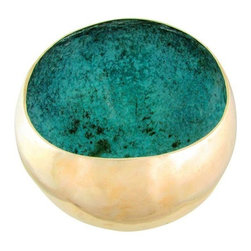 "Pre-owned Artist Signed Limited Edition Cast Bronze Bowl - Substantial studio art sculpture of a Southwestern-style bowl in polished cast bronze. It has an asymmetrical flattened rim and a thick verdigris interior texture creating a stunning contrast affect. The bowl is signed on the bottom ""David 1988, 1/7"" in etching pen for David Dirrim of Colorado."