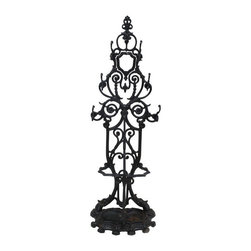 Pre-owned Antique Cast Iron Hall Rack - We're HOOKED on this antique cast iron hall rack! This artful piece will provide a great display for your foyer and it will hang your hats and stash your umbrellas!
