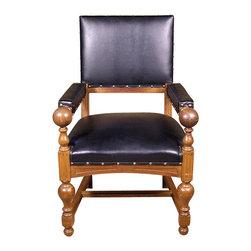 Antiques - Antique Dutch Oak Faux Leather Arm Chair - This is a handsome antique solid oak occasional arm chair.