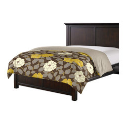 Brown & Yellow Modern Floral Custom Duvet Cover - Simplicity can be stunning.  So proves our Simple Duvet Cover with effortless clean lines that work in any style bedroom. We love it in this stylized oversized floral in modern hues of mustard & lilac gray against chocolate brown.