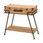 ecWorld - Handcrafted Wooden Metal Frame Removable Storage Trunk Accent Table - A gorgeous addition to your home decor this dual-purpose wooden storage truck and accent table is a great piece to add style and character to any room. A great way to display your items.