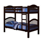 """Acme - Heartland Collection Espresso Finish Wood Twin Over Twin Bunk Bed Set /Trundle - Heartland Collection Espresso Finish Wood Twin Over Twin Bunk Bed Set /Trundle (not shown). Measures 81"""" x 43"""" x 67""""H. Some assembly required."""