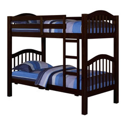 """ACMACM02554 - Heartland Collection Espresso Finish Wood Twin Over Twin Bunk Bed Set /Trundle - Heartland Collection Espresso Finish Wood Twin Over Twin Bunk Bed Set /Trundle (not shown). Measures 81"""" x 43"""" x 67""""H. Some assembly required."""