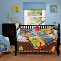 Bananafish Baby Monster 3 Piece Crib Set - Your little monster will fit right in with his Bananafish Baby Monster 3 Piece Crib Set. Fun, adorable, smiling monsters greet your little one with open arms and multiple vibrant colors. Made with soft, cozy cotton, this three-piece set comes with a comforter, sheet, and crib skirt. The crib sheet and skirt are printed to match the comforter. Easy to clean, this set is machine washable on cold.Dimensions:Comforter: 45L x 35W in.Sheet: 52L x 28W in.Crib skirt: 15 inch dropAbout BananafishBananafish was founded in 1997 and has grown to become a leading manufacturer of infant bedding and nursery décor. In 2007 Bananafish became part of the Betesh Group family. Bananafish has found success tapping into global design resources to bring the latest trends to their product lines. While on-trend, they still manage to balance a look that appeals to classic and contemporary tastes. You'll find Bananafish products featured in all the hot media, such as Pregnancy Magazine, American Baby, HGTV.com, OK Pregnancy and Newborn, and more. Luxurious comfort, superior quality, and style that lasts, Bananafish will help you create a nursery that delights.