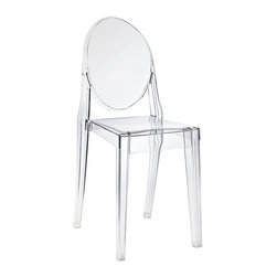 Modway Furniture - Modway Casper Dining Side Chair in Clear - Dining Side Chair in Clear belongs to Casper Collection by Modway Combine artistic endeavors into a unified vision of harmony and grace with the ethereal Casper Chair. Allow bursts of creative energy to reach every aspect of your contemporary living space as this masterpiece reinvents your surroundings. Surprisingly sturdy and durable, the Casper Chair is appropriate for any room or outdoor setting. Pure perception awaits, as shining moments of brilliance turn visual vacuums into new realms of transcendence. Set Includes: One - Casper Side Chair Side Chair (1)