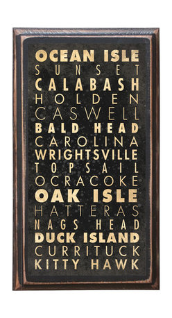 """CrestField - North Carolina Beaches Decorative Vintage Style Wall Plaque / Sign - This vintage style wall plaque is hand made to commemorate the Beaches of North Carolina. The pine board has a quarter round routed edge and is sized at 7.25"""" x 13"""" x .75"""". The surface is finished with my """"flatter than satin"""" poly finish with a saw tooth hanger on the back. Would look great in any decoration project, home or office."""