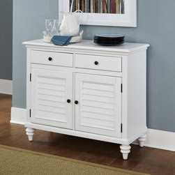 Home Styles - Home Styles Bermuda Brushed White Dining Buffet - 5543-61 - Shop for Buffets and Side Boards from Hayneedle.com! The Home Styles Bermuda Brushed White Dining Buffet is a smart storage piece inspired by the blend of British colonial and old world tropical design. This well-made buffet is crafted of mahogany solids with mahogany and albazia veneers. Its two shuttered doors and turned bun feet are accentuated by the designer brushstroke white finish and antique brass hardware. Adjustable shelving behind the doors and two felt-lined divided drawers keep things tidy.About Home StylesHome Styles is a manufacturer and distributor of RTA (ready to assemble) furniture perfectly suited to today's lifestyles. Blending attractive design with modern functionality their furniture collections span many styles from timeless traditional to cutting-edge contemporary. The great difference between Home Styles and many other RTA furniture manufacturers is that Home Styles pieces feature hardwood construction and quality hardware that stand up to years of use. When shopping for convenient durable items for the home look to Home Styles. You'll appreciate the value.