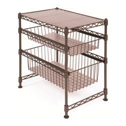 Seville - Seville Bronze Stackable Kitchen Cabinet Organizer - Organize your kitchen items with this cabinet organizer from Seville. A bronze finish and stackable design highlights this cabinet organizer.