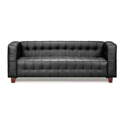 Zuo Modern - Button Sofa Black - With sophisticated ribbing and button pattern, the appropriately named Button series has all leather seating surfaces with leatherette back and sides and solid wood legs.