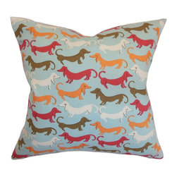 """The Pillow Collection - Ione Animal Print Pillow Carnival 18"""" x 18"""" - Unique and interesting, this accent pillow is an ideal decor piece for your living room, bedroom or lounge area. This square pillow features a fun animal print pattern in shades of white, blue, pink and brown. Toss this 18"""" pillow anywhere inside your home for a relaxing and casual vibe. This throw pillow looks great on its own and works well with other patterns. Made from 100% plush and soft cotton material. Hidden zipper closure for easy cover removal.  Knife edge finish on all four sides.  Reversible pillow with the same fabric on the back side.  Spot cleaning suggested."""