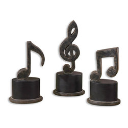 Uttermost - Uttermost Music Notes (Set of 3) - Uttermost Music Notes is a Part of Grace Feyock Designs Collection by Uttermost Hand forged metal finished in aged black with a tan glaze and matte black accents. Sizes: Sm-5x11x3, Med-5x12x3, Lg-5x12x3 Art Object (3)