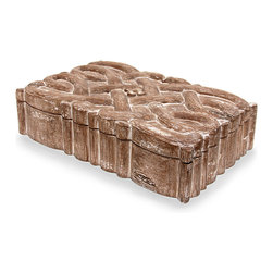 Brittany Knot Box - Distressed Natural - Inspired by masterful craftsmanship and mythical beauty, the Brittany Knot Box is a paean to Celtic knotwork. The distressed natural finish accentuates the intricate carving on the box lid, while the ribbon pattern on the sides continues the vertical presentation of the embellishment. A striking artifact for you home, the shallow box also allows for containment of bibelots, paper ephemera, or treasured jewels.