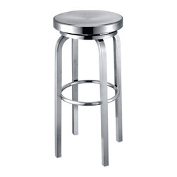 Lemoderno - Fine Mod Imports  Navy Counter Chair, Aluminum - Navy Stool is made of brushed aluminum, for indoor use only. Chair swivels form maximum comfort. Swivel Chair    Assembled