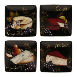 Certified International - Certified International Wine and Cheese Party Canape Plate (Set of 4) - Certified International is a leading manufacturer of ceramic tablewares. These hand-painted plates are attractive, functional and value priced allowing you to create a stylish tablesetting with coordinating kitchen accessories.
