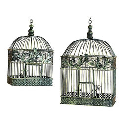 Benzara - Metal Bird Cage For Garden Or Porch - Set of 2 - If you are looking for low cost but rare to find elsewhere utility- decor item to bring extra galore that could refresh the decor appeal of short spaces in garden or porch, beautifully carved 88016 METAL BIRD CAGE S/2 a set of two may be a good choice.
