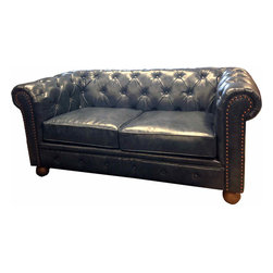 Armen Living - Winston1060 Vintage Loveseat in Blue - The classic Chesterfield is a staple in every room requiring refinement and elegance. The aesthetically pleasing antique bonded leather cover offers years of low maintenance, while the antique nails accentuate the quality of the piece. Richly appoint you