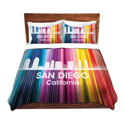 DiaNoche Designs - Duvet Cover Microfiber King-DiaNoche Designs-Angelina Vick-City II San Diego - DiaNoche Designs works with artists from around the world to bring unique, artistic products to decorate all aspects of your home.  Super lightweight and extremely soft Premium Microfiber Duvet Cover (only) in sizes Twin, Queen, King.  Shams NOT included.  This duvet is designed to wash upon arrival for maximum softness.   Each duvet starts by looming the fabric and cutting to the size ordered.  The Image is printed and your Duvet Cover is meticulously sewn together with ties in each corner and a hidden zip closure.  All in the USA!!  Poly microfiber top and underside.  Dye Sublimation printing permanently adheres the ink to the material for long life and durability.  Machine Washable cold with light detergent and dry on low.  Product may vary slightly from image.  Shams not included.