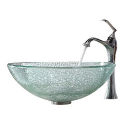 Kraus - Kraus Mosaic Glass Vessel Sink and Ventus Faucet Chrome - *Add a touch of elegance to your bathroom with a glass sink combo from Kraus