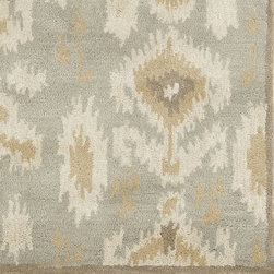 Ballard Designs - Marchesa Rug - Rug pad recommended. Swatches available. Imported. The pattern is tribal inspired, but our Marchesa Rug has a fresh modern feel designed to work with our favorite fabrics. It's hand tufted of plush 100% wool in fashionable hues of gray, Dijon, cream and mocha with a narrow dark taupe border. Marchesa Rug features: . . .