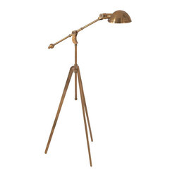 Pimlico Tripod Boom Arm Pharmacy Floor Lamp, Hand-Rubbed Antique Brass - This stunning lamp has a big, sculptural presence. It will add angles, light, and a beautiful metal finish to any room in the house.