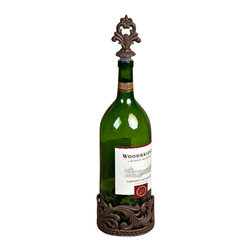 GG Collection - GG Collection Wine Holder & Stopper - Wine Bottle Holder & Stopper, Brown Metal, Original Acanthus Leaf, 4.5in Dia, stopper finial 3in, Care: Metal, hand wash in mild soap; dry with a soft cloth