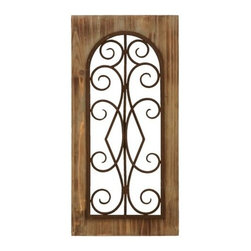 """BZBZ52752 - Wooden and Metal Wall Panel in Majestic Style with Tan Finish - Wooden and Metal Wall Panel in Majestic Style with Tan Finish. Add a dash of sophistication and opulence with this wood and metal wall panel that will surely impress your guests. It comes with a dimension of 23"""" H x 11"""" W x 2"""" D."""