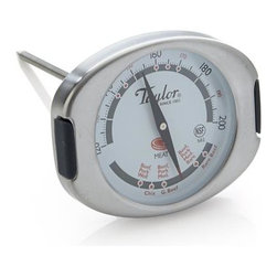 Taylor® Leave-In Meat Thermometer - Roast with confidence, knowing this leave-in thermometer is monitoring your meat to the ideal cooking temperature. The thermometer mavens at Taylor engineered this dual-point device to simultaneously register internal meat temps and corresponding doneness readout for foolproof results. Unique dial shape prevents rolling off counters. Registers internal Fahrenheit temperatures from 120 to 220.
