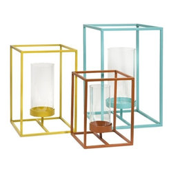"IMAX - Savona Metal Candle Lantern - Set of 3 - A modern use of positive and negative space, the Savona metal candle lanterns add striking color and modern flair to any space. Holds pillar candles. Item Dimensions: (12-16-20""h x 9-11-13""w x 9-11-13"")"