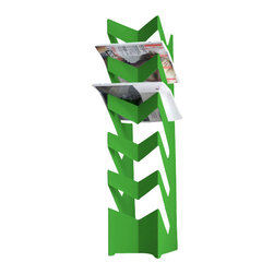 Radius Design - News Stand, Green - The standing newspaper holder has space for up to 30 newspapers.